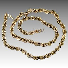 Napier Chunky and Heavy Thick 30 Inch Rope Gold Tone Vintage Chain