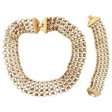 Extraordinary Monet Couture Chain Vintage  Necklace and Bracelet Set