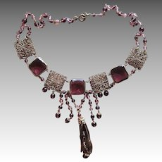 Czech Purple Drippy Art Deco  Vintage Necklace