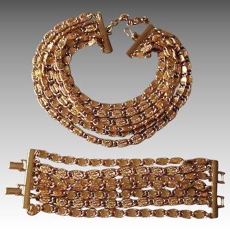MONET Fabulous Runway Signed  Chunky Designer Vintage Necklace and Bracelet