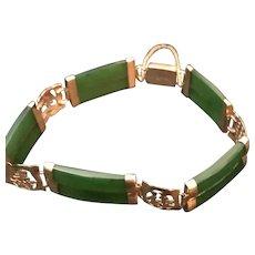 Jade and 14k Gold Vintage Quality Bracelet