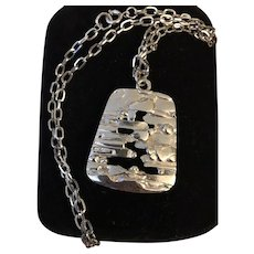 Signed Trifari Silver Tone Vintage Pendant Necklace