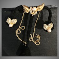 Christian Dior Faux Pearl and Faux Diamond Vintage Necklace and Earrings