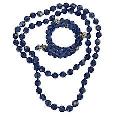Stunning Blue Vintage Long Necklace and Bracelet