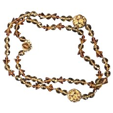 Signed Miriam Haskell Long Glass and Roundel Vintage Necklace