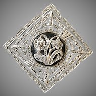 Signed Sterling Art Deco Marcasite Quality Brooch