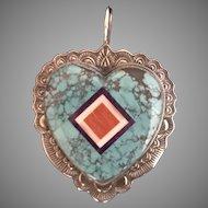 Huge and  Unique Vintage Zuni Heart Inlaid Pendant Rare