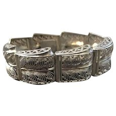 Early 1900's Stamped German Silver Ornate Antique Bracelet