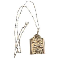 Chatelaine Note Pad or Dance Card Stamped Antique Victorian Sterling Pendant Necklace
