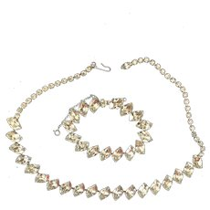 Elegant Quality Clear and Bright  Rhinestone Vintage Necklace and Bracelet- think Wedding or Prom