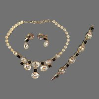 Rare Monet Book Piece Set 1980's Runway Vintage Signed  Necklace, Bracelet and Earrings