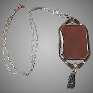 German Deco Sterling, Carnelian, and Enamel Pendant Necklace