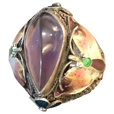 Vintage Sterling Enamel Chinese Export Ring
