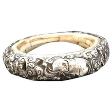 Sterling Silver Overlay Vintage Bracelet with Repose Animals