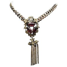 Joseff Of Hollywood Vintage Brooch with Chain- Stunning with red stones