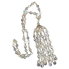 Runway Statement Vintage Tassel Necklace  with Crystals and Layered Rhinestone Roundels