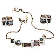 Signed Stunning Vintage Swarovski Designer Necklace and Earring Set