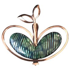 Matisse Renoir Rare Signed Vintage Modernist Apple Brooch