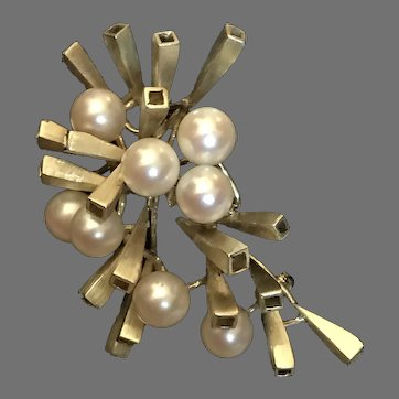 14K Marked Gold Unique Large 17grams Modernist Atomic Cultured Pearl and Gold Brooch