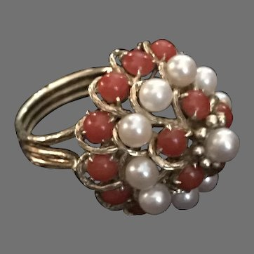 Amazing Red Coral and Pearl Vintage Statement Cocktail Ring in 14 K Gold