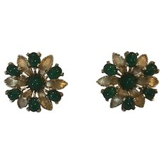 Boucher Stunning Signed Vintage Clip Earrings