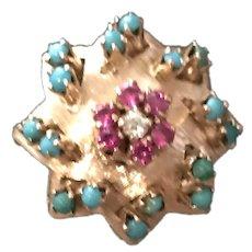 18K Gold Vintage Diamond, Pink Sapphire,  Persian Turquoise Stunning Ring
