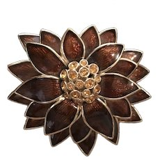 Impressive and Large Signed Ciner Flower Signed Vintage Brooch