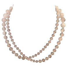 30 Inch Graduated Pink Quartz Hand Knotted Vintage Necklace