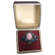 Sterling Silver Coral and Enamel Fabulous  Vintage Ring