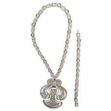 Rare Monet Vintage Runway Bold Necklace and Bracelet Set