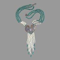 Sunya Currie Enamel Scarab Art Nouveau Revival Stunning Necklace