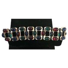 Very Rare 1937 Monet Cabochon Substantial Vintage Bracelet