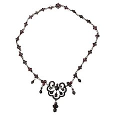 Fabulous Antique Bohemian Garnet Victorian Necklace