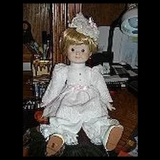 """15"""" Porcelain and Cloth """"Googly"""" Looking Doll"""