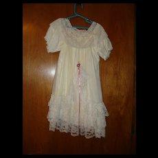 White Nylon Christening Dress for Doll