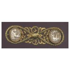 Huge pinchbeck snake motif pin with cameos