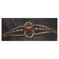English Victorian gold enamel and diamond lady bug bracelet