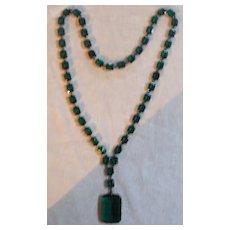 Very Special Emerald Paste Art Deco Necklace