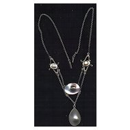 Arts And Crafts Sterling Blister Pearl Necklace