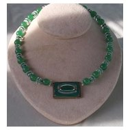 Exquisite Art Deco Rock Crystal and Chrysoprase Necklace