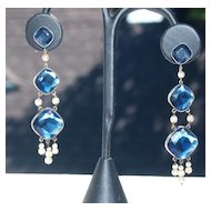 Dreamy Long Victorian Sapphire paste earrings in Gold & Silver