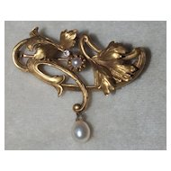 Art Nouveau 14k Diamond and Pearl Pin
