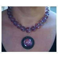 1920's Chinese Export Amethyst , Silver, Enamel Necklace