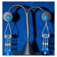 1920's Long Luxurious Egyptian Revival Earrings