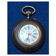 Ladies Gun Metal Pendant Watch with Fancy Dial