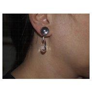 1930's sterling Rock Crystal Dangle Earrings