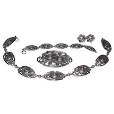 1940's Tiffany Sterling Rose Necklace 4 Piece Parure Suite
