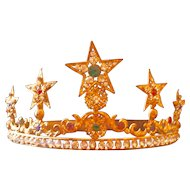 Antique French Gilded Star Santos Crown