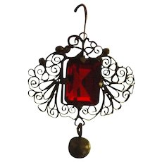 Darling Victorian Filigree Dangle Earrings With Red Centre