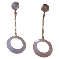 Art Deco Flapper Chalcedony Drop Earrings